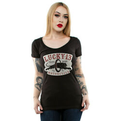 Women's Lucky 13 Moto Panther Scoop Neck T-Shirt Black Motorcycle