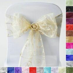 75 Embroidered Organza Chair Sashes Ties Bows Wedding Party Decorations Sale