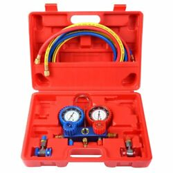 R134A Manifold Gauge Set AC AC 6FT Colored Hose Air Conditioner with Case Red