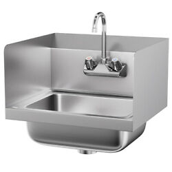 Ironmax Stainless Steel Hand Washing Sink Nsf Commercial W/ Faucet Side Splashes
