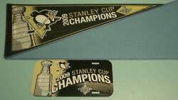 2009 Pittsburgh Penguins Stanley Cup Champions Pennant And License Plate - New