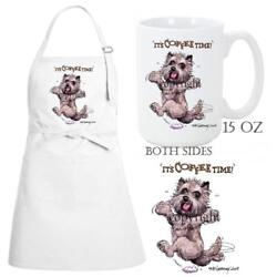 Cairn Terrier Dog Breed Coffee Time Kitchen Chef Apron & Ceramic Mug Gift Set