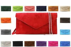 Ladies Women Real Suede Leather Envelope Chain Clutch Party Prom Evening Bag GBP 13.99