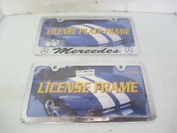 Mercedes License Plate Frame Chrome /black 2 Hole Screws/covers And Blank Front