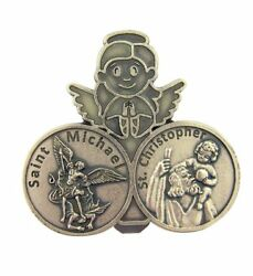Glow In The Dark Saint Michael With St Christopher Visor Clip, 2 1/4 Inch