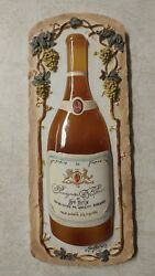 Vintage 3d Wine Wall Plaque France By Mary Beth Zeitz 9 X 3 1/2