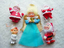 Lot of 5 Different Vintage Chenille Felt Christmas Tree Ornaments Holiday Decor
