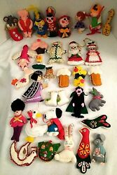 Lot of 32 Vintage Christmas Felt & Sequin Ornaments Handmade 1970's-80's