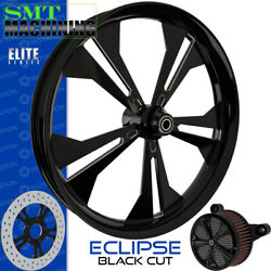 Smt Machining Eclipse Black Cut Front Wheel Harley Touring Bagger 21