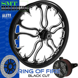 Smt Machining Ring Of Fire Black Cut Front Wheel Harley Touring Bagger 21