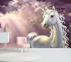 3d Cute White Unicorn 456 Wall Paper Wall Print Decal Wall Deco Indoor Murals