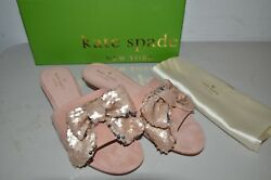 NEW KATE SPADE ARIA SANDALS KID SUEDE DUSTY BLUSH W SEQUIN BOW 9 W BAG SLIDES