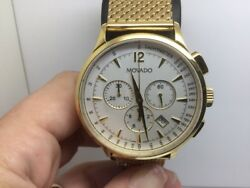Movado 42mm Circa Chrono Yellow Stainless Steel Watch With Mesh-link Bracelet