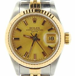 Rolex Date Ladies 2tone 18k Gold And Steel Watch Jubilee Band Champagne Dial 69173