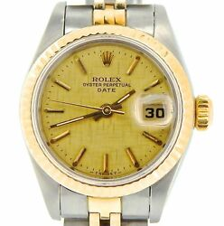 Rolex Date Ladies 2tone 18k Yellow Gold And Steel Watch Linen Dial Jubilee 69173
