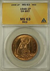 1948 Great Britain One Penny 1 Pence 1p Coin Anacs Ms-63 Red A