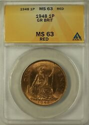 1948 Great Britain One Penny 1 Pence 1p Coin Anacs Ms-63 Red B