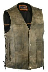Mens Motorcycle Antique Brown Leather Vest W/ Side Lacesconcealed Pockets- Ma24