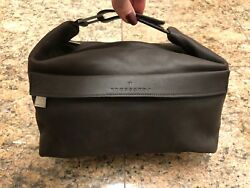 Trussardi Brown Leather Cosmetic Travel Bag Retail $750