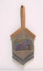 Antique Victorian Beaded Purse Peacock Image Pleated Silk Trim And Bead Fringe