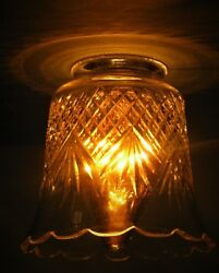 Vintage Pressed Glass Fitter Shade Hanging Wall Lamp Clear Diamond Quilted 4h