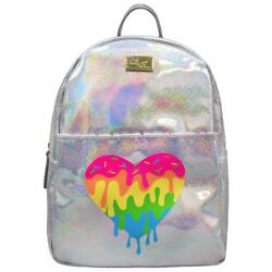 NEW!  BETSEY JOHNSON SILVER Holographic Backpack School Bag Tote Melting HEART