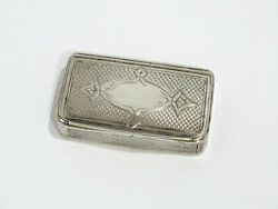 2 5/8 In - Sterling Silver Gilded Interior Antique English C. 1820 Snuff Box
