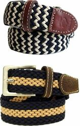 Rocawear Menand039s Elastic Stretch Webbed Braided Belt New Hip Hop Era Time Money Is