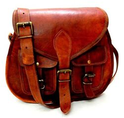 Handmade Women Vintage Style Genuine Brown Leather Crossbody Shoulder Bag Purse