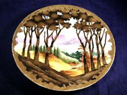 Antique C.1891 Noritake Maple Leaf Nippon Scenic Plate Gilding And Gold Jewels
