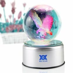 Eagle Gifts 3D Crystal Ball Bald Eagle Statue Figurines Collectibles LED table L
