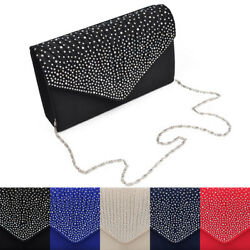 Premium Rainbow Rhinestones Pleated Front Satin Envelope Flap Clutch Evening Bag $12.99