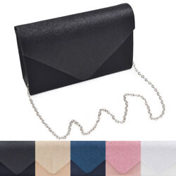 Premium Glitter Front PU Leather Envelope Flap Clutch Evening Bag $13.99