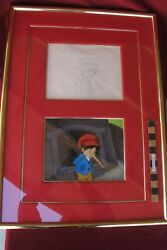 Pinocchio Production animation cel & Drawing Hand Painted Framed 1987 Disney