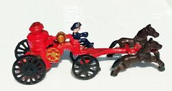 Cast Iron Fire Wagon Vintage Toy Horse Fire Truck Carriage 1940's Vintage Toy