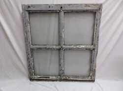 Antique Metal Industrial Window Chicken Wire Factory Privacy Glass 39x36 75-18J