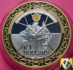 1999 2000 Australia 10 Ten Dollars Millennium Silver And Gold Proof Coin