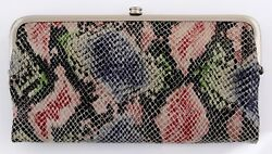 NWT HOBO INTERNATIONAL LAUREN DOUBLE FRAME LEATHER CLUTCH WALLET COSMO SNAKE NEW