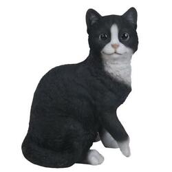 Bicolor Black and White Cat Kitten Collectible Figurine Glass Eyes Life # 12471