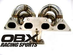 Obx T3/t4 Bottom Mount Turbo Header For 97 To 01 Honda Prelude Sh H23a1