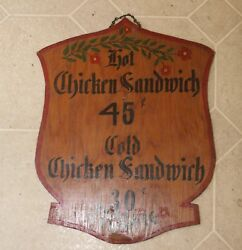 Vintage Antique Hand Lettered Sign Chicken Sandwich w Price Pennsylvania Dutch