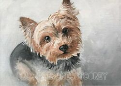 Yorkshire Terrier Yorkie Art Puppy Dog Original Acrylic Painting on Canvas 5 x 7
