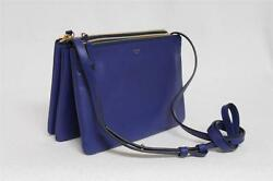 New Celine Trio Small Indigo Blue Luggage Leather Messenger Bag