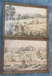 Antique Framed Tapestries With Glass + Matching Frames Set Of 2