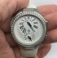 Philip Stein Teslar Stainless Steel Watch Dual Time With Diamond Bezel 35mm