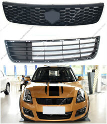 2pcs Oem Front Bumper Upper+lower Middle Grille Modified For Suzuki Swift 13-17