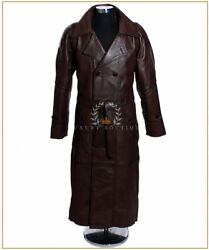 Nkvd Soviet Army Brown Menand039s Military Overcoat Real Lambskin Leather Trench Coat