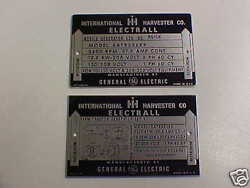International Harvester Electrall Ge Generator Plate Acid Etched Alum. Choice