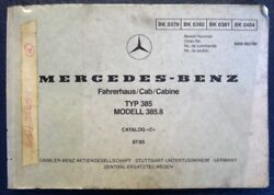 Mercedes Benz 385 Lorry Truck Illustrated Spare Parts List Cab 07/85