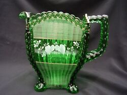 EAPG Northwood Glass Rare Emerald Green Decorated Alaska  Lions Leg Pitcher
